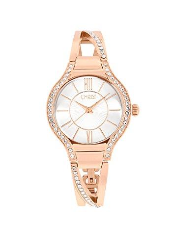 CHRIST times Damen-Armbanduhr Analog Quarz One Size, silberfarben, rosé
