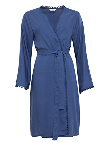 Cyberjammies 3269 Women's Bow Blue Woven Modal Dressing Gown Loungewear Bath Robe Robe 36EU (Womens Roben Modal)