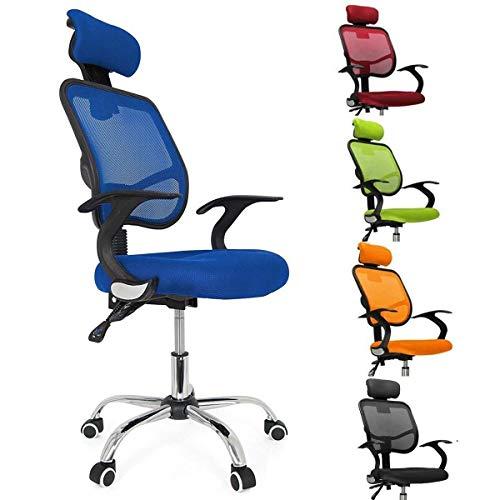 Femor Schreibtischstuhl Drehstuhl Bürostuhl Chefsessel sitzkomfort Bürodrehstuhl Binklusive Armlehnen Bandscheiben ergonomisches - bis 130KG - Höhenverstellung - Farbwahl (Blau)