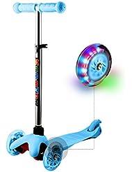 Ancheer Kinderscooter aus Aluminiumlegierung, Kinderroller Dreiräder für Kinder 2-8 Jahre, mit LED Blinken