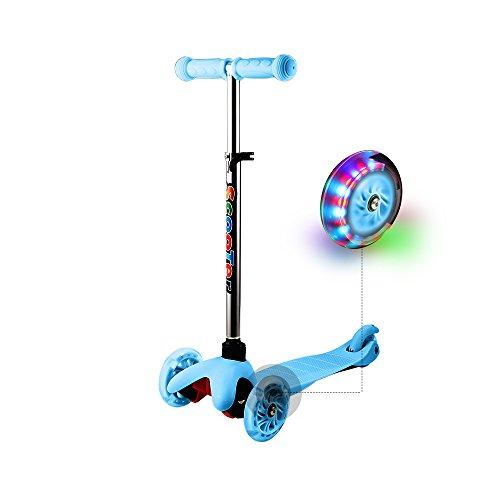 WeSkate Kinder Roller Scooter 3 Räder mit LED Blinken und Verstellbare Lenker, Aluminiumlegierung Kinderroller Tretroller Dreiräder für Junge Mädchen ab 2-7 jahre (Blau)