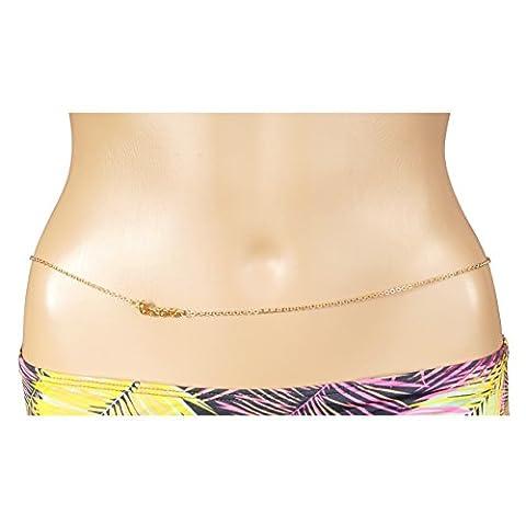 Timando Bauch-Kette Hüftkette Love Schriftzug Bikini Körper-Schmuck Damen gold-farben