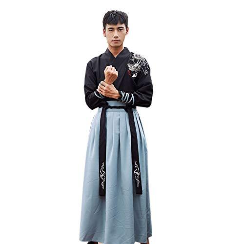 2 Drachen Kostüm Mann - YCWY Chinesisches Kleid für Männer, Weinlese-chinesischer Drache stickte Hanfu-Fotoaufnahmekleidung Cosplay chinesisches Held-Kostüm-2-teiliges Set,S