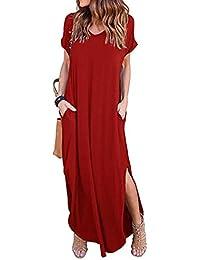 Mujer vestido otoño suave y suelto moda 2018 urbano streetwear,Sonnena Vestido largo de manga larga con cuello en V para mujer Suelto Vestido largo de noche de playa suave traje de calle