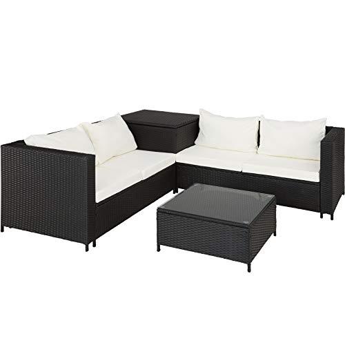 TecTake 800678 Polyrattan Sitzgruppe für 4 Personen, frei zu gruppierende Elemente, inkl. Aufbewahrungsbox für Polster, Tisch mit Glasplatte - Diverse Farben - (Schwarz | Nr. 403071)