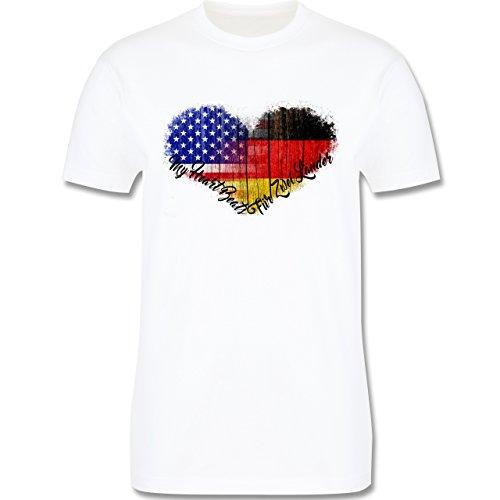 Flaggen - Deutsch-Amerikanische-Flagge-Herz - L190 Herren Premium Rundhals T-Shirt Weiß