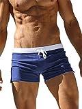TACVASEN Swimming Shorts for Men Swim Briefs Summer Surf Trunks Quick Dry Beach Box Brief with Pocket Navy