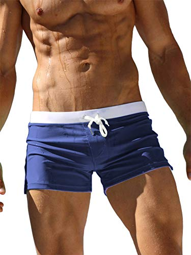 TACVASEN Maillot de Bain Homme Swimming Shorts for Men Swim Briefs Summer Surf Trunks Quick Dry Beach Box Brief with Pocket Navy