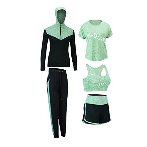 Xinwcang Damen Yoga Kleidung Anzug 5er-Set Lauf Jogging Trainingsanzug Set Gym Fitness Kleidung Set Grün1 XL