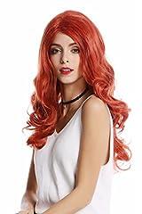 Idea Regalo - WIG ME UP ® - GF-W2291-T2735-M130M Parrucca Donna Hollywood Glamour Diva Lunga Ondulata Rosso riga in mezzo