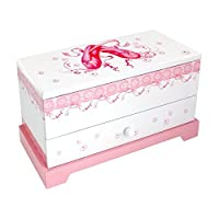 Astin Of London® Girls Pink & White Musical Ballerina Jewellery & Trinket Box with Ballet Shoes Themed Design
