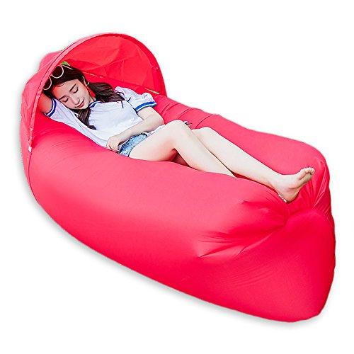 0,9kg tragbar Schnell aufblasbar Air Bett/Sofa/Boot für Outdoor Wandern Camping Lounge Strand und Garten Freizeit Schlafsäcke Camping Bett mit Sonnenschirm, rot