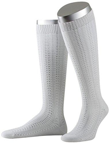 Lusana Damen Trachtenstrümpfe Kniestrumpf mit Ajourmuster Weiß (Weiß 26), 38 (Herstellergröße: 38-40)