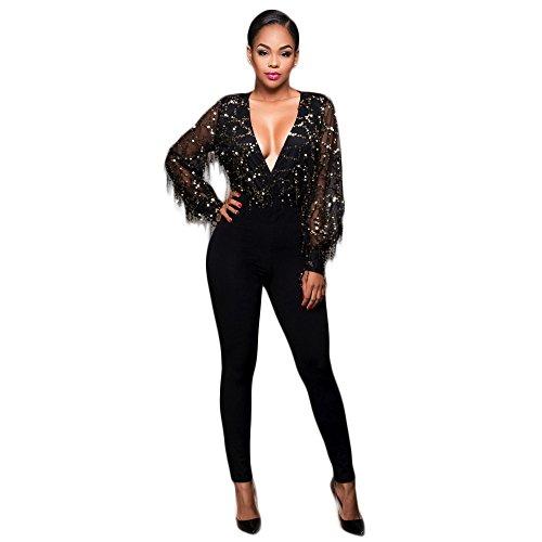 Zurück Catsuit (New Frau schwarz Pailletten Mieder Jumpsuit Catsuit Body Club Wear Größe UK 8–10EU 36–38)