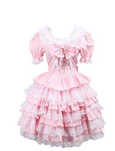 Antaina Rosa Baumwolle Rüsche Spitze Fliege Puff viktorianisch süß Knielang Elegant Lolita Cosplay Kleid,XXL -