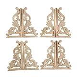 Sharplace 4 Paires D'Appliques D'Angle En Bois Sculpté Décoré De Meubles - MD013