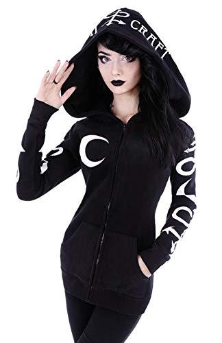 Mujer Punk Gothic Sudadera con Capucha de Manga Larga Goth...