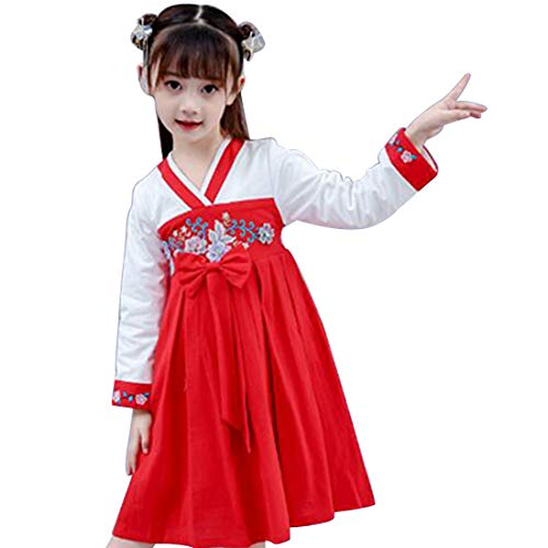 MU CHAOHAI Mädchen Hanfu Kleid Ancient Wind Cross Kragen Faltenrock Super Fairy Gestickte Langarm Prinzessin Kleid -