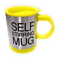 DFS Automatic Stainless SELF STIRRING MUG Coffee Mixing Cup Blender - Standard (Yellow)