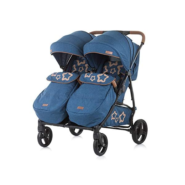 Chipolino Passo Doble Sibling Pushchair Folding 73 cm Wide Footmuff Chipolino twin pushchair easy to fold, footrest and push handle covered with imitation leather from birth, large sunroof, foot cover, only 73 cm wide 5-point safety harness with shoulder pads, 5 adjustable lying positions, adjustable leg rests per seat 2