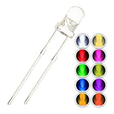 Chanzon 100 pcs(10 colors x 10 pcs) 3mm LED Diode Lights Assored Kit Pack (Clear Round Transparent DC 3V 20mA ) Bright Lighting Bulb Lamps Electronics Components 3 mm Light Emitting Diodes Parts