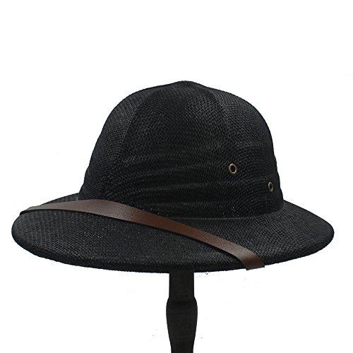 Junjiagao Neuheit Toquilla Stroh Helm Pith Sonnenhüte für Männer Vietnam Krieg Armee Hut Papa Boater Eimer Hüte Safari Dschungel Bergleute Cap 56-59CM (Farbe : 2, Größe : 56-59CM)