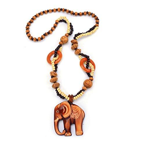 Frauen Holz Perlen Lange Pullover Kette Tier Elefanten Geschnitzten Anhänger Halskette Böhmischen Retro Halskette Mode Kleidung Zubehör,Brown-64cm