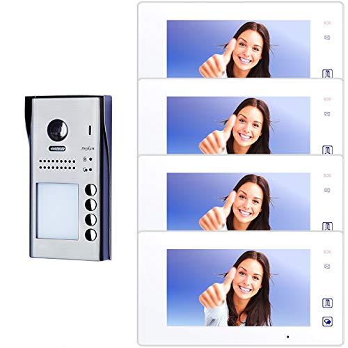 Farb-Video-Türsprechanlage in 2-Draht-Technik für 4-Familien mit RFID-Zutrittskontrolle und Touch-Screen TFT-Monitor inkl. Bildspeicher