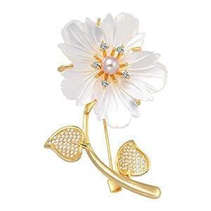 Kirschblüten Broschen Pin 18 Karat Gold Überzogene Lila Süßwasser Perle Inlay Zirkonia Brosche Pins Für Frauen Schnalle für Pullover Schal Mantel