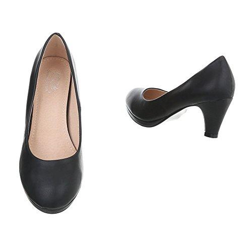 Ital-Design Scarpe da Donna Scarpe Col Tacco Tacco a Cono Classico Scarpe Col Tacco Nero