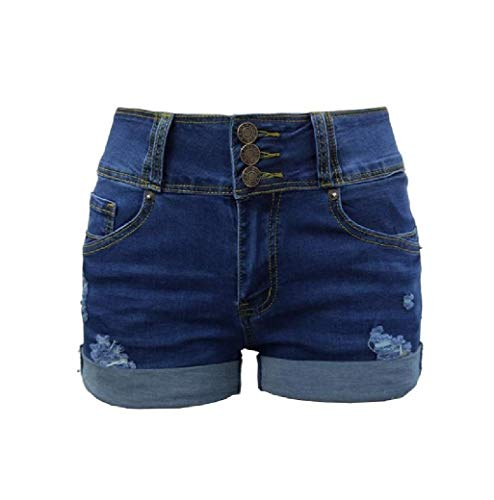 Andode Womens Midi Shorts Denim Ripped Curling High Waisted Shorts Jeans AS1 M