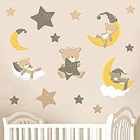 Teddybears & Stars - Brown - Pack of 15 - Childrens Nursery Printed Wall Art Vinyl Stickers