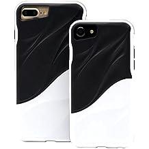 Cover iPhone 7/iPhone 8 silicone morbido TPU Hard Bumper PC Onda dell'acqua Doppio strato custodia protettiva di JOYTAG(Bianco+Nero)