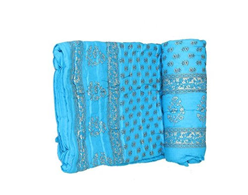 SVT 100% Cotton Filling Single Jaipuri Razai Turquoise