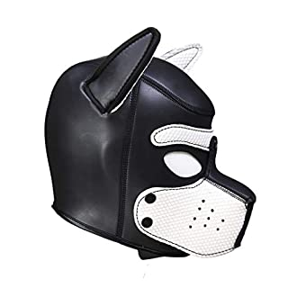 AmaMary Sexy Cosplay Puppy Mask, Sexy Cosplay Role Play Dog Full Head Mask Padded Rubber Puppy Play Mask Soft (White)