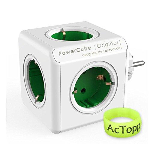 AcTopp Allocacoc PowerCube DuoUSB Original Mehr-Verteiler Blau/Grün (Grün)