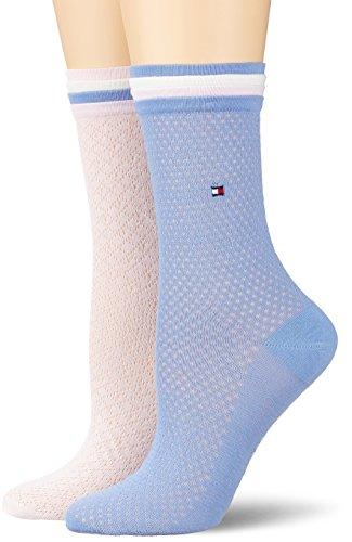Tommy Hilfiger Damen TH Women Global Welt Sock 2P, 2er Pack, Mehrfarbig (Lilac Hint 027), 35/38