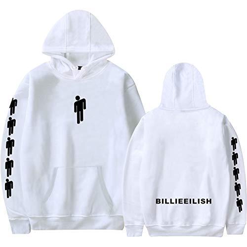 Mini Office Depot Billie Eilish Hoodies Beiläufiges übergroßes Hip-Hop-Sweatshirt Unisex 3D-Print-Kapuzenpullover für Jungen, Mädchen, Männer, Frauen(L Weiß) Mini Herren Sweatshirt