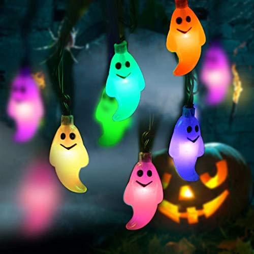 LJS-BQ Solar Halloween Lichter, 19.69ft 30 LED Halloween Geist Lichter für Halloween PartydekorationenLichter,Fourcolors