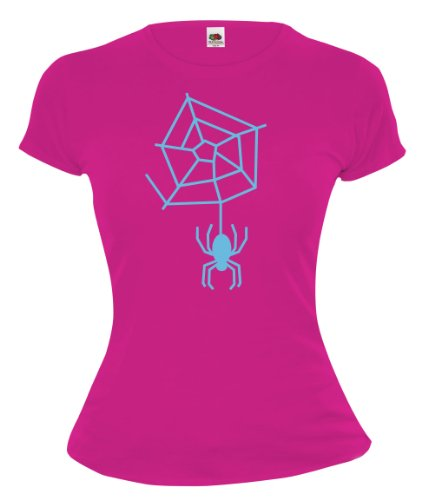 Girlie T-Shirt Spinnennetz Fuchsia-Skyblue