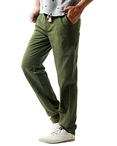 MODCHOK Herren Jogginghose Leinen Hose Freizeithose Sporthose Cargo Pants Schwarz Dunkelgrau (L, Armeegrün) (Herren Leinen Schwarz Hosen)