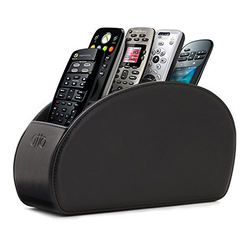 OTTO Porta Telecomandi con 5 scomparti - Per contenere telecomandi di TV, stereo, decoder, DVD, Blu-Ray - in Ecopelle con fodera interna in suede. Adatto per salotto o camera da letto - Nero