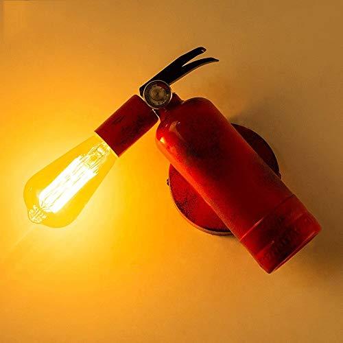 Dlicyt Industrie Retro Feuerlöscher geformte kreative Wand Lampenschirm Personality rote Eisen-Metallwand-Leuchter-Beleuchtung E27 Edison Loft Cafe Bar-Wandleuchte for Schlafzimmer Studienbüro