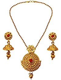 Beingwomen Fashion Jewellery Gold Antique Gold Plated Traditional Round Pendant Necklace Set For Women