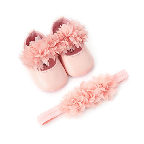 EDOTON Baby Mädchen Blume Schuhe mit Haarband Anti-Rutsch-Weiche Taufe Prinzessin Lauflernschuhe Sneaker für Kleinkind (6-12 Monate, Rosa)