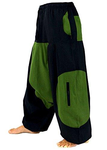 Guru-Shop Haremshose, Pluderhose, Pumphose, Aladinhose, Herren/Damen, Baumwolle, Size:One Size, Männerhosen Alternative Bekleidung Schwarz/Grün