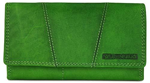 Hill Burry Vintage Leder Damen Geldbörse Portemonnaie braun | rot | grau | schwarz aus weichem Leder - 17,5x10x3cm (B x H x T) (Grün) - Hunter Green-zubehör