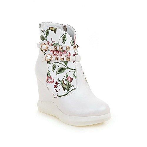 AllhqFashion Damen Reißverschluss Niedrig-Spitze PU Rund Zehe Gemischte Farbe Stiefel, Weiß, ()
