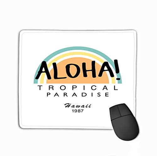 Mousepad Custom Design Gaming Mouse Pad Rubber Oblong Mouse Mat 11.81 X 9.84 Inch Aloha Summer Tropical Paradise Slogan Textile Print Poster Design Aloha Summer - Aloha Jersey