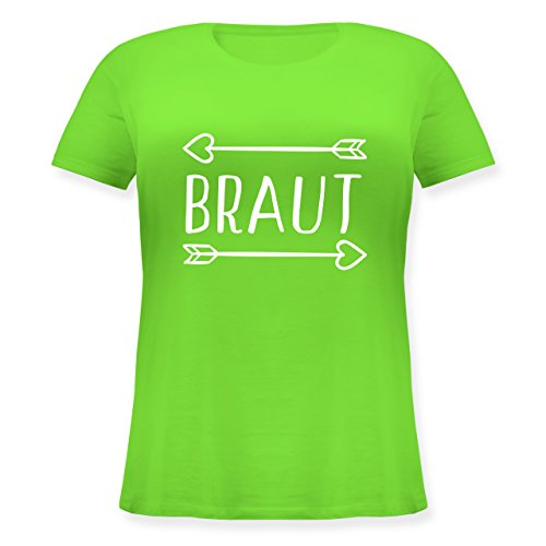 Shirtracer JGA Junggesellinnenabschied - Braut Pfeile - Lockeres Damen-Shirt in Großen Größen mit Rundhalsausschnitt Hellgrün